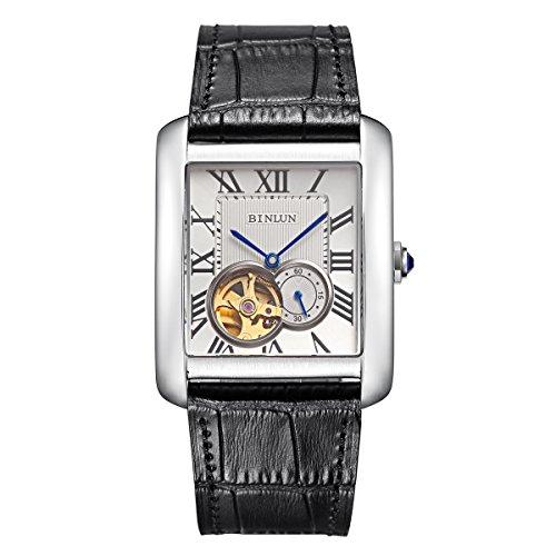 BINLUN Herren Rechteck Gold Silber Automatik Uhren Schwarz Braun Leder Tourbillon Mechanische Armbanduhr Geschenk