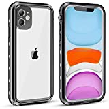vcloo Waterproof Case for iPhone 11, Fully Sealed Snowproof Shockproof Dustproof Dirtproof Underwater Case Clear IP68 Certified for iPhone 11 6.1 Inch (Black)