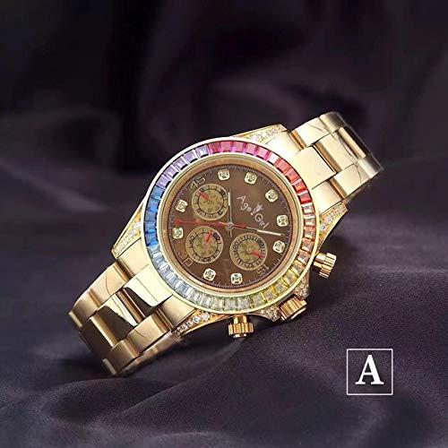 Llzka Herren Automatik Regenbogen Diamant Lünette Edelstahl Gelbgold Schwarz Klassiker Wasserdicht Uhr 40mm Braun