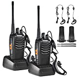 Nestling 2PCS 400-470 MHz Walkie Talkie Two Way Radio Rechargeable Long Range Headset Headphone Built in LED Torch BF-888s(Pack of 2)