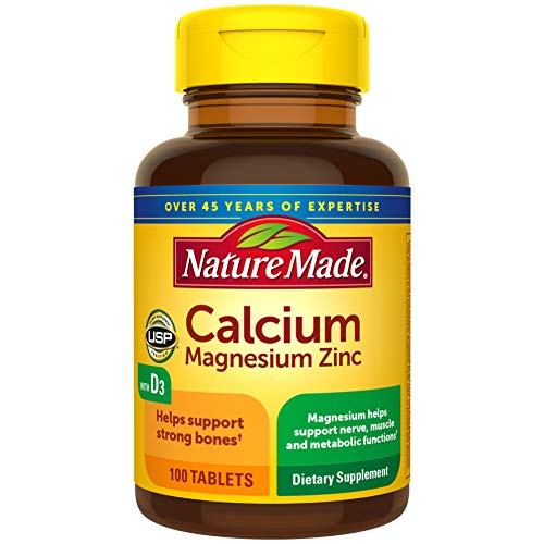 Nature Made Calcium, Magnesium Oxide, Zinc with Vitamin D3 Tablets, 100 Count for Bone Health (Pack of 3)