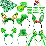 30 PCS St. Patrick's Day Party Favor Set Saint Patricks Day Irish Costume Accessories Shamrock Party Favors include Shamrock Headbands, Necklaces, Mustaches, Rubber Bracelets and Tattoos