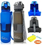 Collapsible Water Bottle/Travel Water Bottle (2Pack), 22 Oz Silicon Water Bottle/Foldable Water...