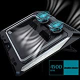 IETS GT300 Double Blower Laptop Cooling Pad for 14-17 Inch Gaming Laptop, Cooler Pad with Dust Filter, Flexible Rubber Ring, Colorful Lights,Adjustable Mount Stand,Third Gear Speed
