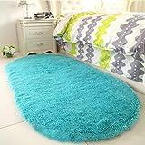 YJ.GWL High Pile Soft Shaggy Turquoise Blue Rug for Bedroom Gilrs Mermaid Room Decor Fluffy Area Rugs Kids Anti-Slip Nursery Carpets, 2.6' X 5.3' Oval