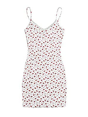 Features: V Neck, Sleeveless, Spaghetti Strap, Contrast Lace, Ribbed, Lettuce Trim, Slim Fitted, Short Dress Soft fabric has some stretch Casual and chic style, sheath dress, comfy to wear in summer and spring Perfect for picnic, street, holiday, bea...