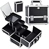 Joligrace Makeup Box Train Case Large Storage Capacity Portable Travel Cosmetic Organizer with Compartments and 2-Tier Trays with Mirror, Lockable with Keys - Black Pattern