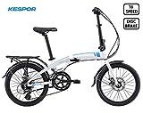 KESPOR Venture Folding Bike Commuter, Rear Rack, Folding 16 Speed Bike City Aluminum, Disc Brake, 20-Inch Wheels (White)