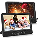 WONNIE 10.5' Dual Screen DVD Player Portable CD Players for Car with Two Mounting Bracket, 5-Hour Rechargeable Battery, Play a Same or Two Different Movies (2 X DVD Players)
