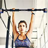 """Pull Up Chin up Bar Doorway Exercise Bar Total Upper Workout Bar Stretch Bar– Alu Locking Mechanism - No Screws- No Tools for Home Gym Exercise Fitness with 28.5"""" - 37.5'' Adjustable Width"""
