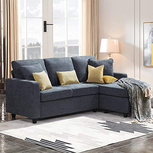 HONBAY Convertible Sectional Sofa Couch L Shaped Sofa Couch with Reversible Chaise for Small Apartment, Bluish Grey
