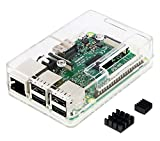 Raspberry Pi 3 Model B Raspberry Pi 3 Model B用ケース(Clear) + 上部開口部フタ 2種類 各1 (1種類はケースに取付け済) ケースごと乗せて使えるGPIOカード+ケースに貼れるGPIOシール ゴム足 + ヒートシンク一式(大1, 小1) + スタック用のピン一式 + ネジ一式