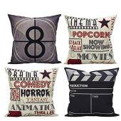 """Comoco Set di 4 Film Teatro Cinema Personalizzata Decorativo Caso Cuscino Cuscino 18""""x 18"""" 45 cm x 45 cm-Movie"""