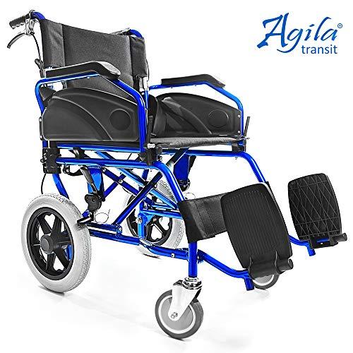 AIESI Silla de Ruedas plegable Ultra-ligera de aluminio con freno para discapacitados y mayores AGILA TRANSIT # Doble sistema de frenado # Cinturon de seguridad # Garantía de 24 meses