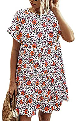 Material: 35% Cotton and 65% Polyester.Soft,Comfy and Skin-Friendly. Features: Womens shift dress, Cute, Short Sleeves, Boho Floral Print, Leopard Print, Round Neck, Loose Casual, Above knee length, Ruffle hem, Pleated, Flowy Swing, A Line, Babydoll ...