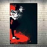ARgnqu DIY Pintar por números Pintura de Arte de Anime de Harley Quinn Pintar por nuimeros Lienzo con Pincel y Pintura acrílica Pintura por números para Adultos Pinturas para sa40X60cm(Sin Marco)