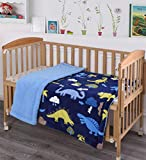 Sapphire Home Super Soft and Cozy Blanket, 40' x 50', Blue Plush Sherpa Backing Blanket for Boys Kids Baby Toddlers, Navy Dark Blue Dinosaur, Multicolor Kids Blanket Throw, Sherpa Dinosaur Large