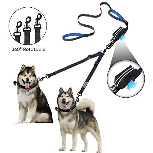 YOUTHINK Doppelte Hundeleine, Keine Verwicklung Hundeleine 2 Hunde bis 50kg, Bequem Verstellbare, Zwei Gepolsterte Griffe, Bonus Reißverschlusstasche für Müllsack
