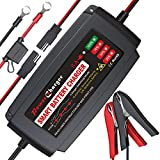 BMK 12V 5A Smart Battery Charger Portable Battery Maintainer with Detachable Alligator Rings Clips...