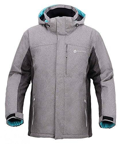 Andorra Men's Performance Insulated Ski Jacket with Zip-Off Hood,Dr Gry/Li Gry/Teal,XXL