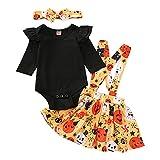 BIBOKAOKE Ensemble de vêtements pour bébé fille - Body à manches longues - Grenouillère + jupe avec bretelles à volants - Ensemble de vêtements doux pour bébé - Costume d'Halloween de 3 à 18 mois