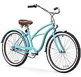sixthreezero Women's 3-Speed 26-Inch Beach Cruiser Bicycle, Teal Blue w/ Brown Seat/Grips
