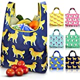 EasyEarth Reusable Shopping Grocery Bags EcoSilk [6 Pack] - Cute Dogs, Unbreakable, Foldable, Washable, 50 lb Heavy Duty, Eco Friendly Bag with Handles for Animal Lovers