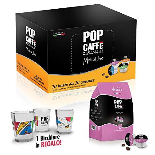 100 CAPSULE POP CAFFE' MOKA-UNO 3 ARABICO COMPATIBILI UNO SYSTEM ILLY KIMBO