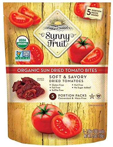 ORGANIC Sundried Tomatoes - Sunny Fruit (5) 1.06oz Portion Packs | Purely Tomatoes - NO Added Sugars, Sulfurs or Preservatives | NON-GMO, VEGAN & HALAL
