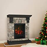 PHI VILLA Electric Fireplace Stove with Faux Stone Mantel, Freestanding Indoor Space Heater with Realistic Flame Effects for Living Bedroom, LED Screen, 1250W