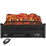 TURBRO Eternal Flame EF23-PB Electric Fireplace Logs, 23' Remote Control Fireplace Insert Log Heater, Realistic Pinewood Ember Bed, Thermostat, Timer, 1400W Black