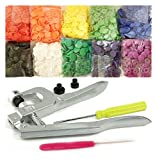 Original Commercial-Grade KAMsnaps Lead-Tested Starter Pack: Size 20 T5 KAM Snaps Snap Press Pliers for Plastic Snaps No-Sew Buttons Fastener Setter Hand Tool (Rainbow White)