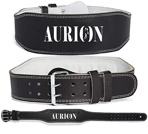 Aurion Genuine Leather Weight Lifting Belt Body Fitness Gym Back Support Power Lifting Belt...