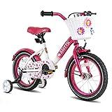 JOYSTAR 16 Inch Kids Bike with Hand Brake and Basket for 4 5 6 7 Years Girls, 16' Chilren Bike with Training Wheels and fenders, Fuchsia