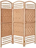 Oriental Furniture 4 ft. Tall Fiber Weave Room Divider - Natural - 3 Panels