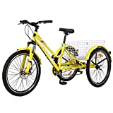 DoCred Adult Tricycle 7 Speed, Adult Trike 24/26 inch Three Wheel Cruiser Bike Men's Women's Mountain Tricycles with Cargo Basket, Multiple Colors