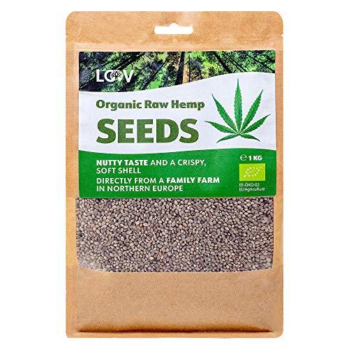 Semillas de Cáñamo Enteras Crudas Orgánicas LOOV, 1 kg, no tratadas térmicamente, conserva los nutrientes, sabor a nuez, cultivadas en clima nórdico, buena fuente de proteína y fibra a base de plantas
