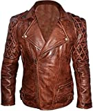 Classic Diamond Biker Motorcycle Distressed Brown Real Leather Jacket (XL)