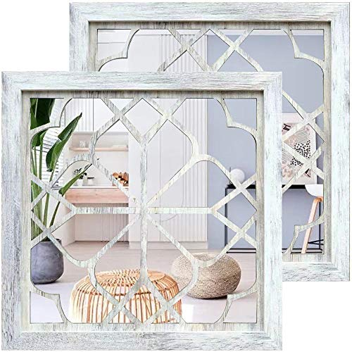 Wocred 2 PCS Square Wall Mirror,Gorgeous Rustic Farmhouse...