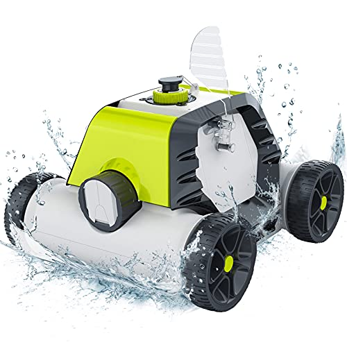 Cordless Robotic Pool Cleaner Automatic, 5000mAh Rechargeable Design, Up to 90 Mins Working Time, IPX8 Waterproof, Built-in Water Sensor Technology-HJ1103J Green