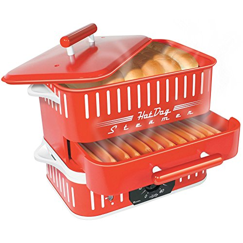 CuiZen CST-1412B Hot Dog Steamer, Small, Red