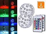 Browill [2 Pack Submersible LED Lights, 10 RGB LEDs 16 Colors Waterproof Underwater Lights with 2 Remote Control for Aquarium Vase Base Pond Pool Garden Home Party Wedding Christmas Decoration