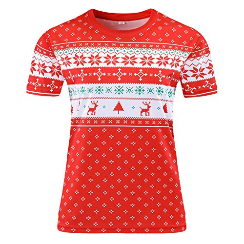 Redbear Sports Gym Running Top for Women - Christmas Jumper Print T-Shirt - Looks Knitted - Breathable All Weather Fabric (XS 8)