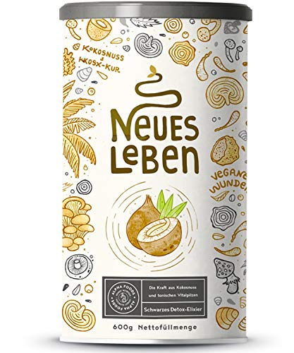 Neues Leben - Schwarzes Detox-Elixier - Formel mit Aktivkohle, Matcha, Aloe Vera, Chaga, Shiitake, Reishi - 600 Gramm