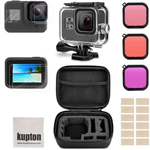 Kupton Kit di Accessori per GoPro Hero 8 Black include Custodia Impermeabile+Protezione Dello Schermo Vetro Temperato+Custodia per il Trasporto+Inserti Anti-Appannamento per GoPro8