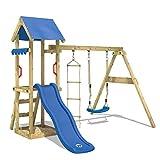 WICKEY Parco giochi in legno TinyCabin Giochi da giardino con altalena e scivolo blu, Torre di arrampicata da esterno con sabbiera per bambini