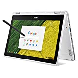Acer Chromebook Spin 11 Convertible Laptop, Celeron N3350, 11.6 Inches HD Touch, 4GB DDR4, 32GB Storage, Wacom EMR Pen, Pearl White, CP511-1HN-C7Q1