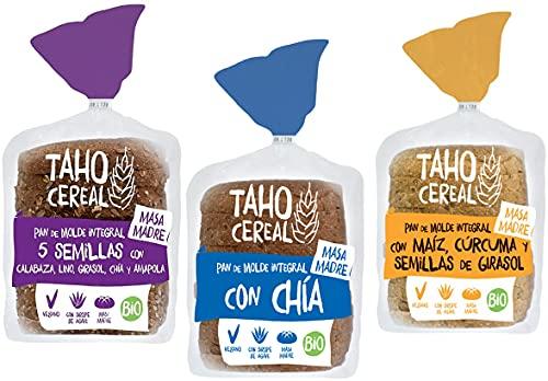 Pan de Molde con Masa Madre Bio   Pack 3 uds   Integral con 5 semillas, integral con chía e integral con maíz, cúrcuma y semillas de Girasol   De cultivo Ecológico