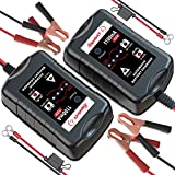 [2-Pack] LEICESTERCN 12V Battery Trickle Charger Maintainer Portable Smart Float Charger for Car Motorcycle Lawn...