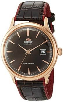 Orient Men's Bambino Version 4 Stainless Steel Japanese-Automatic Watch with Leather Calfskin Strap, Brown, 22 (Model: FAC08001T0)